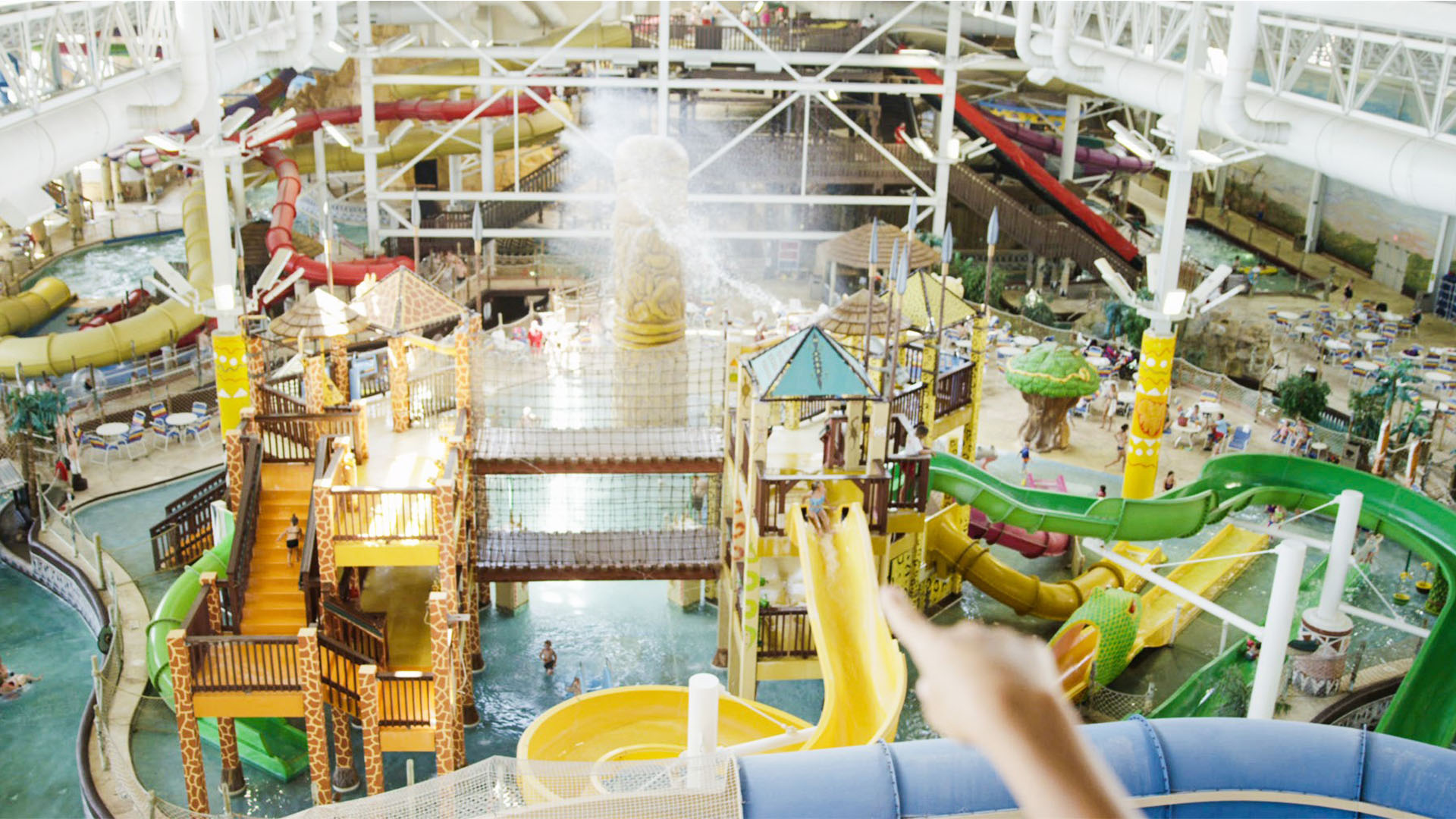 indoor Water park with multiple slides